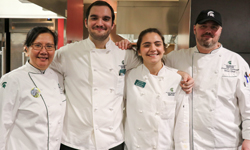 Student Chefs Raffi and Mariana Hulian with Executive Chef Dien Ly and Sous Chef Christoph Waldburger
