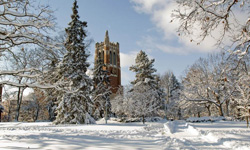 Beaumont Tower in the winter